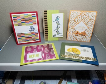 Five assorted greeting cards