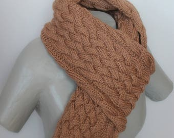 Greige color cable scarf