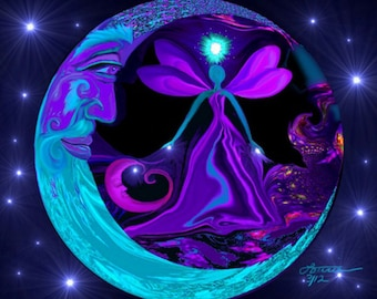 "Moon Stars Fairy Art, Blue Purple Decor, Angel Energy Print ""The Mystic"""