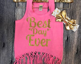 Best Day Ever tank   Fringe tank   Best Day Ever top   Pink and gold glittery boho top