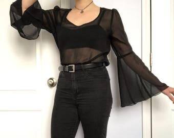 Vintage Black Mesh Blouse