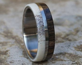 Deer Antler Ring, Ebony Wood Ring, Stainless Steel Ring, Wedding Ring