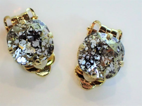 Crystal Gold Patina Clip On Earrings, Gold