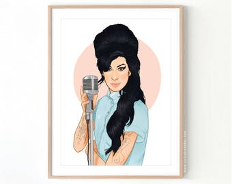Amy Winehouse Back to Black Fred Perry // Giclee Archival Matte Art Print
