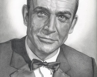 Drawing Print of Sean Connery as James Bond 007