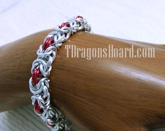 Byzantine Bracelet - Silver & Red