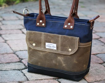 heavy waxed canvas petite tote - made in USA 010095