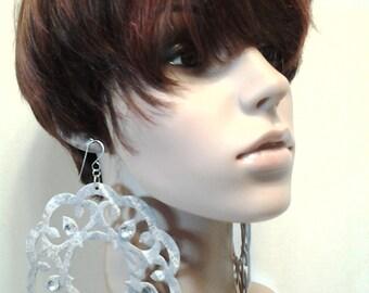 Attractively Cut Womens Fabric Earrings with Rhinestones, Large Earrings, Big Earrings, Women's Jewelry, Fashion Earrings, Handmade Earrings