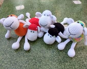 Animal crochet Sheep amigurumi Plush doll Stuffed sheep Toy Gift for birthdays Children toy Black sheep Rainbow sheep