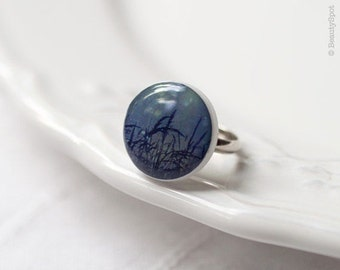 Navy blue Ring - Misty Nature Ring - Branches ring - Nature lover gift - Botanical ring - Photo ring - Photo art ring - Photo art jewelry