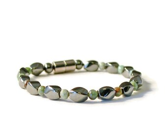 Magnetic Therapy Bracelet with African Jade Semi-Precious Stones, Pain Relief Jewelry