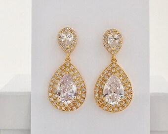 Gold Teardrop Crystal Earrings Gold Bridal Cubic Zirconia Earrings Gold Wedding Crystal Jewelry Gold Bridal Earrings Gold Bridesmaid Jewelry