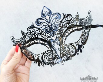 Masquerade Mask, Black Masquerade Mask,  Masquerade Ball Mask, Mask w/ Exquisite Rhinestones, Bachelorette Party, New Year's Eve Mask