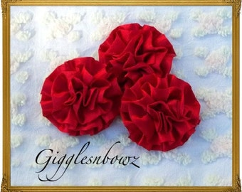 Set of 3 Beautiful RED Satin Rosettes Puff Flowers