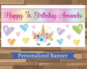 "18""x36"" Rainbow Unicorn Personalized Birthday Party Banner   1st Birthday   Tea Party   Baby Shower   Unicorn Party Decor"