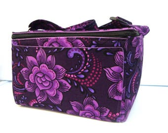 Super Large 6 inch Depth Fabric Coupon Organizer Tote - With ZIPPER CLOSER Midnight Purple Floral