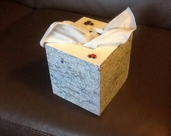 Travel decor square tissue boxes