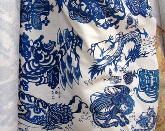 BLUE DRAGONS  by Design Legacy new digital print fabric