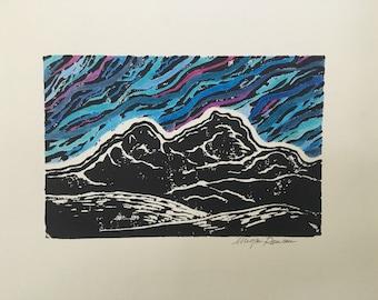 Into the Mountains - Linocut Print