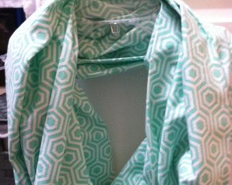 Teal and white geometric Infinity Scarf