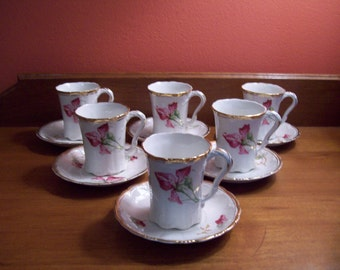 Vintage Sevres Cups and Saucers - Set of 6