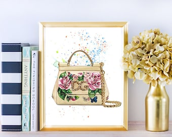 Fashion illustration, Dolce Gabbana art, Dolce Gabbana bag, Dolce Gabbana print, Fashion art gift, Fashion girl art, Fashion art print