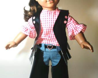American Girl Doll Western Chaps Pants Vest Blouse