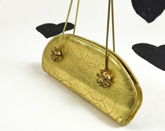 80's gold rhinestone Vera Pelle purse 1980's made in Italy chin strap small evening bag / baguette / prom / jeweled / leather handbag clutch