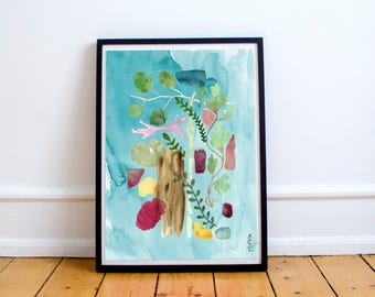 Floral botanical watercolor print fine art giclee archival home decor wall art