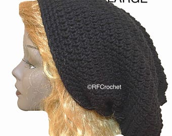 Made to Order Ships in 2-3 Business Days - Large Black Slouchy Beanie, Free USA Shipping, Soft, Men, Women, Dreadlocks, Adults, Locs