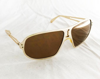 Gold Aviator Sunglasses - Vintage Foster Grant alumineyes polarized lenses USA