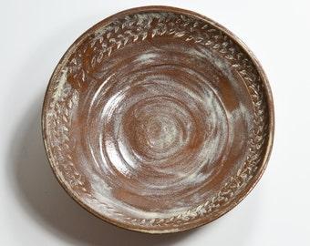 Ceramic Serving Bowl, Rustic, Leaf Design