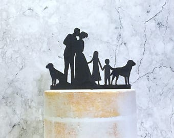 Silhouette Wedding Cake Topper with Bride Groom Children and Dog, Wedding Cake Topper with children, Cake topper with labradors, Pet Wedding