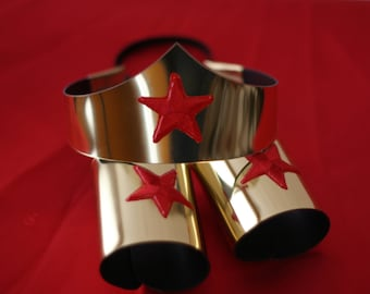 Child size Classic Wonder Woman Tiara and Cuff Bracers Accessory Set in Gold or Silver Kids Girls Costume Adjustable Custom Fit