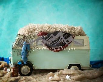 Newborn digital backdrop Volkswagen bus
