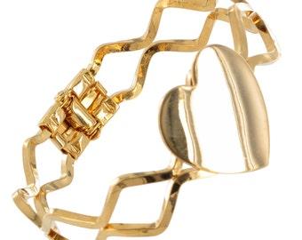 Heart Clamp Bangle Bracelet Gold Tone Vintage Engraveable 1970s