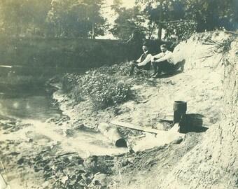 Antique Photo Two Men Sitting on Stream Bank Summer Dress Clothes Vintage Photograph Black White Photo