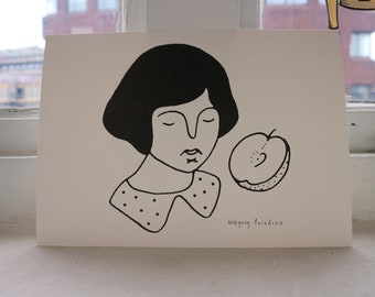 Lady and apple A4 print