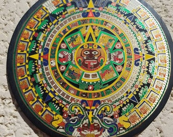 Vintage colorful wood and metal Ethnic  Mayan calander round wall decor, mexico