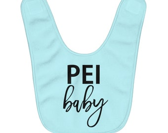 PEI Baby - Fleece Baby Bib - Can Customize Color - Prince Edward Island