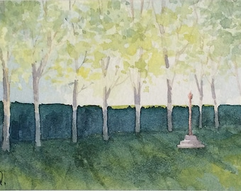 Original watercolor ACEO painting - In Boboli