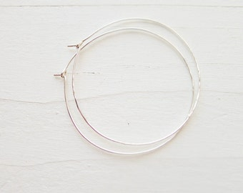 Wispy Hammered Sterling Silver Hoops Hammered Hoop Earring Thin Hoops Lightweight Earrings Large Thin Hoop