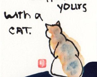 Cat etegami print - Life is Hard...