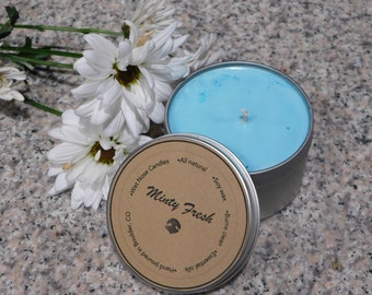 8 oz Natural Soy Candle | Minty Fresh Scented |  Essential Oils | Eco-Friendly | Burns Clean | Non-toxic
