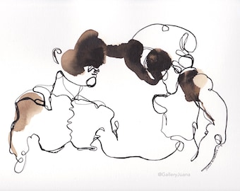 line Figure art,  line figure painting, ink line drawing, Abstract Couple I May l 2018