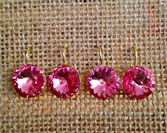 Rose Pink Swarovski Crystal Earrings, Indian Pink Crystal Earrings, Pink Tourmaline Swarovski Crystal Drop Earrings, Rose Pink Earrings
