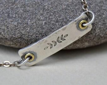 Sterling Rustic Flower Sprig Bracelet. Boho . Hand Forged . Forged Links . Wedding Gift .Bracelet. Boho .