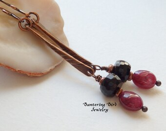 Unusual Ruby Earrings, July Birthstone, Red and Black Gemstone Stick Earrings, Long Earrings with Oval Ruby Dangle, Onyx, Copper Jewelry