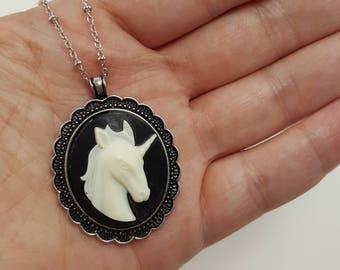 Unicorn Cameo Necklace, Unicorn Necklace, Unicorn Jewelry, Victorian Unicorn Necklace, Cameo Jewelry, Unicorn Gift