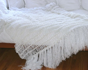 Throw Mothers Day Gift Mother Gift White Blanket White Throw White Bedding Fringe Home Accent Blanket Interior Design Afghan Lap Warmer